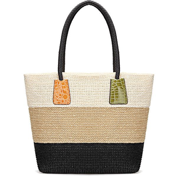 Yoins Color Block Woven Tote Bag in White Beige and Black ($25) ❤ liked on Polyvore featuring bags, handbags, tote bags, purses, yoins, black, woven tote, beach tote bags, white tote and tote handbags