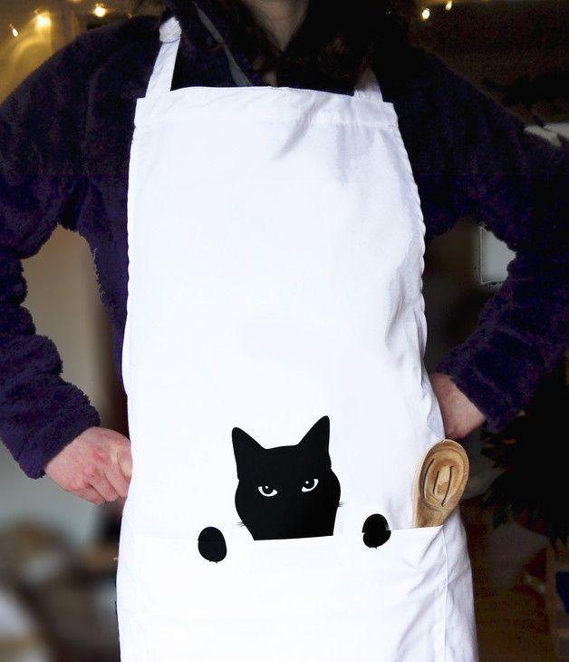 Delantal De Cocina Con Ilustración De Gato En Dawanda Es Delantales De Cocina Delantales Delantales Lindos