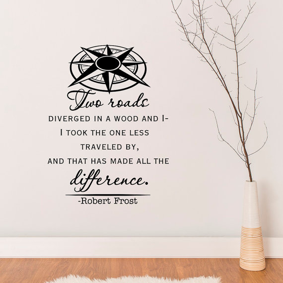 road less traveled robert frost wall decal quotefabwalldecals