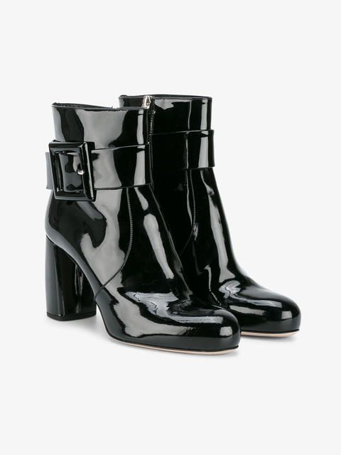 55cb7198e30 Miu Miu | Black Patent Leather Ankle Boots - Crafted in Italy, they ...