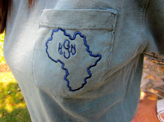 Monogrammed Africa Pocket Comfort Colors by InfinityStitchesLLC, $20.00