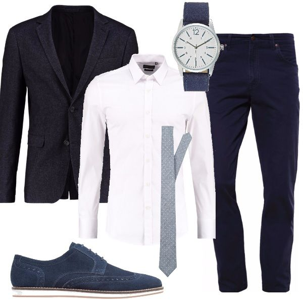 official photos 437b4 2d8d1 Pantaloni blu navy abbinati a una camicia slim bianca e ...