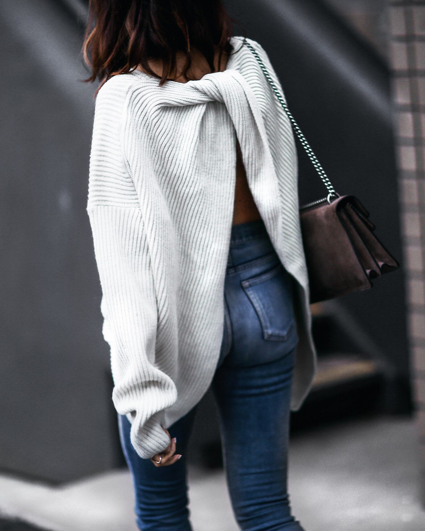 slouchy oversized sweater with twisted back | Fall Fashion ...