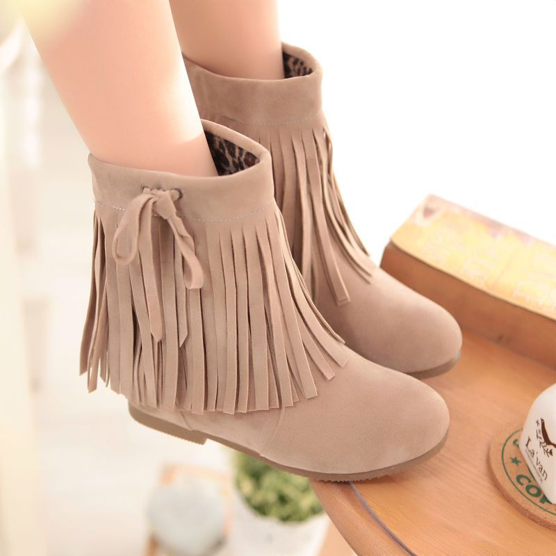 Sweet Girls Fassels Fringes Charming Ankle Boots Hidden