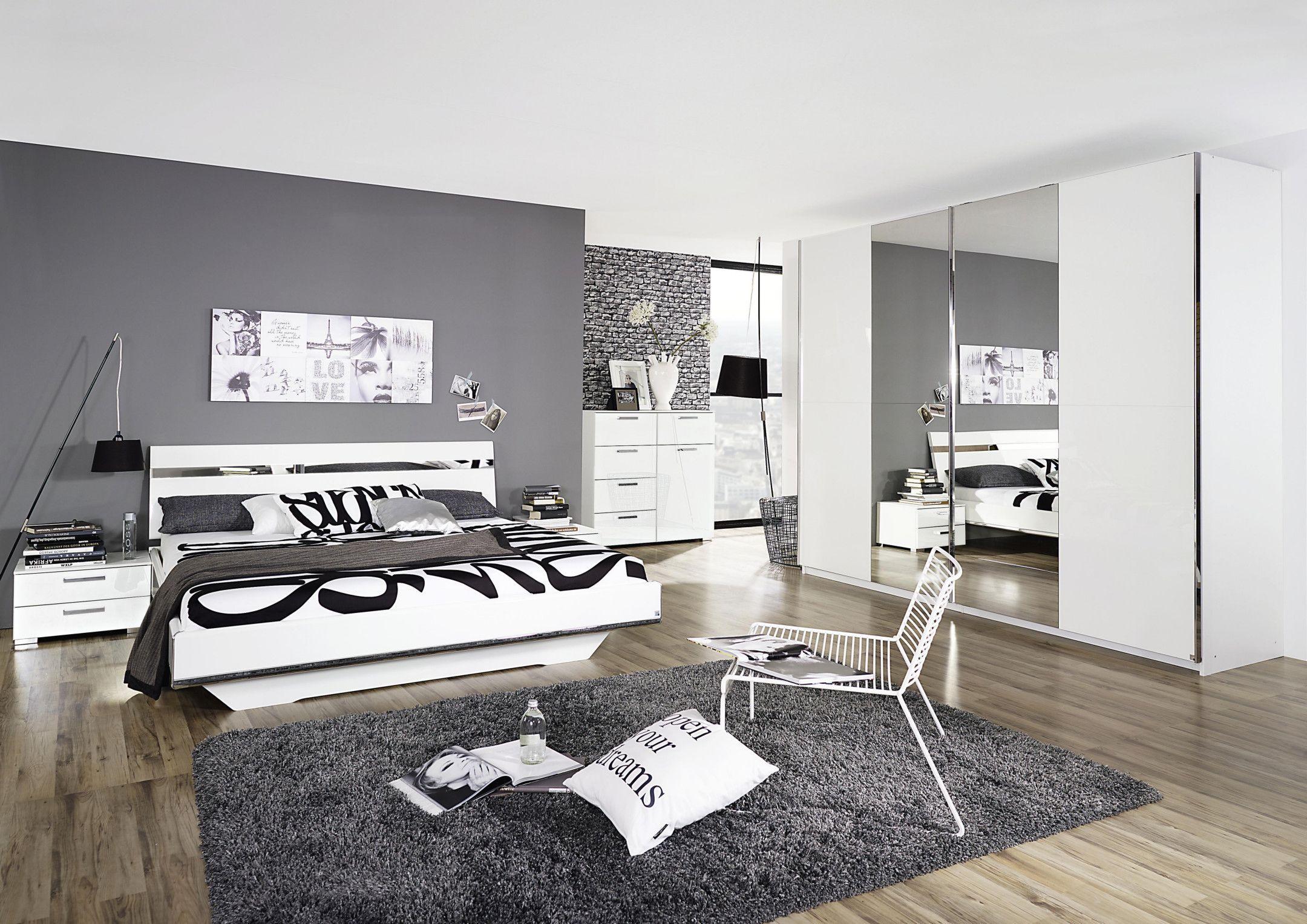 Schlafzimmer Mit Bett 180 X 200 Cm Weiss Hochglanz Woody