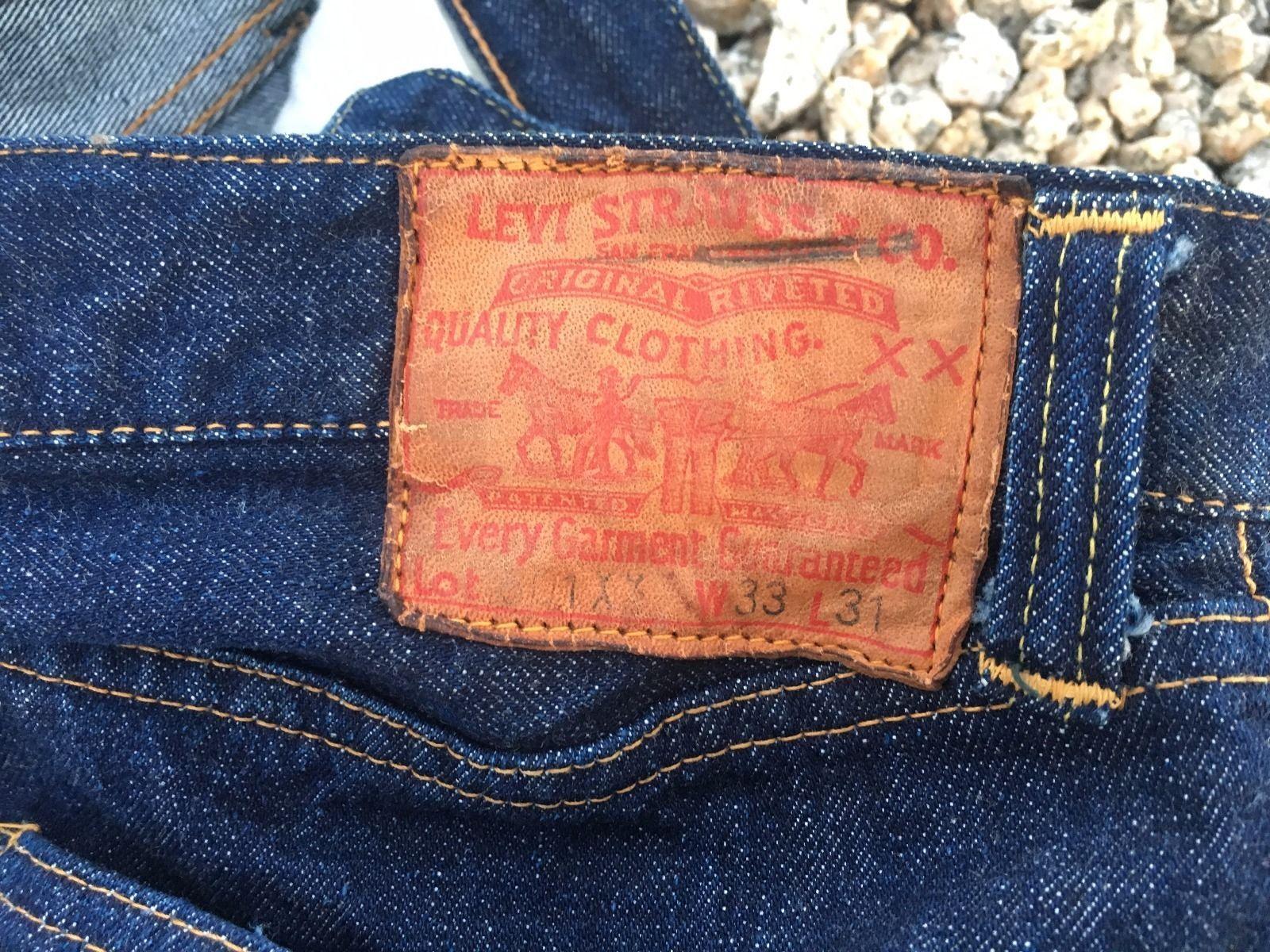 9d8fcfd97fe Vintage Levi Big E Redline Jerky Tag 501 XX Denim Jeans Hidden Rivets 40's  50'S | eBay