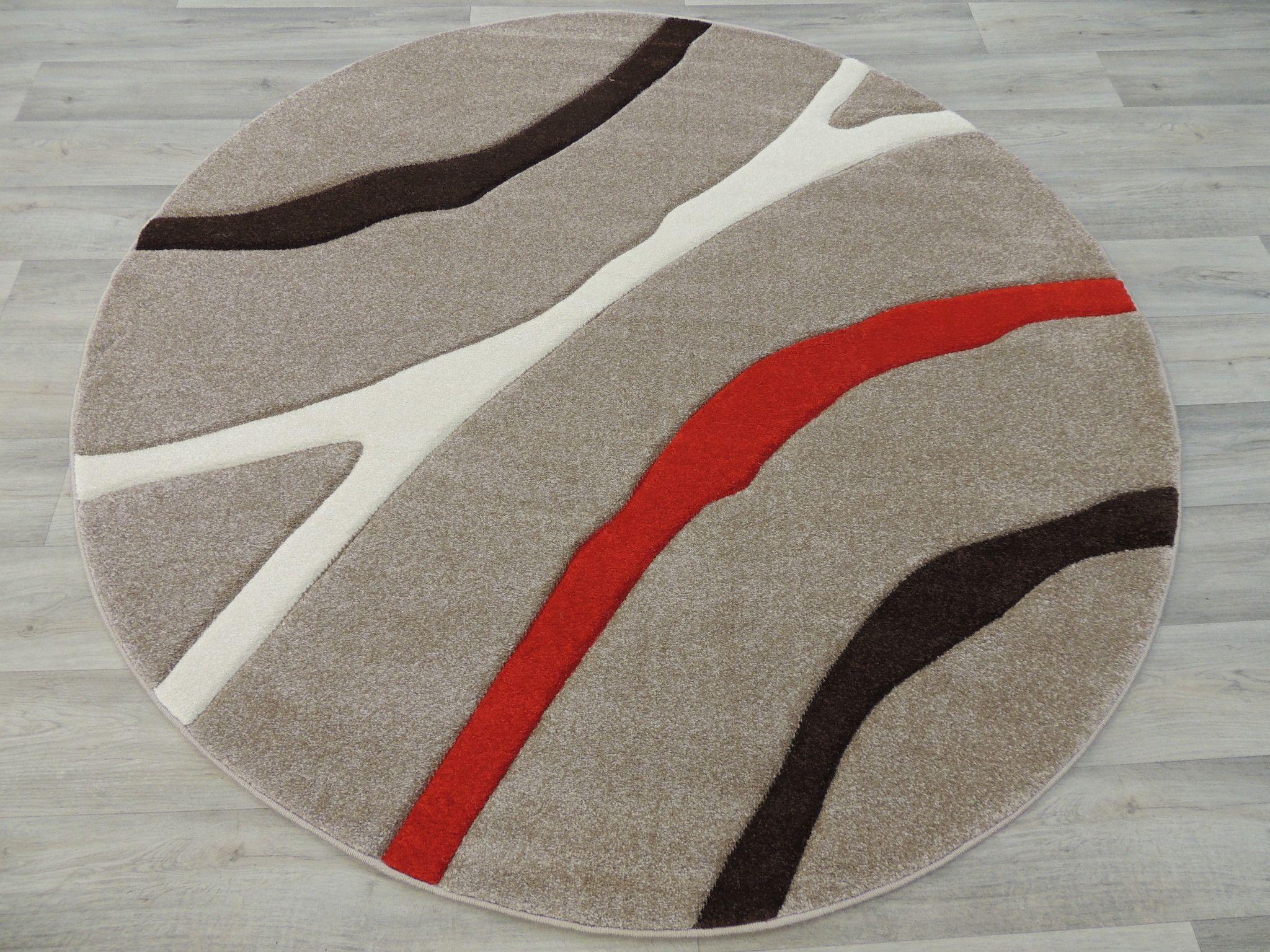 Soft Lines Beige Modern Round Turkish Rug Size 120 X 120cm