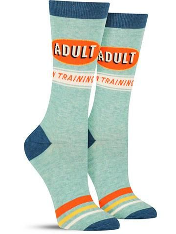 cf8022a37c17 Awesome Funny Adult in Training socks for women from Blue Q ...