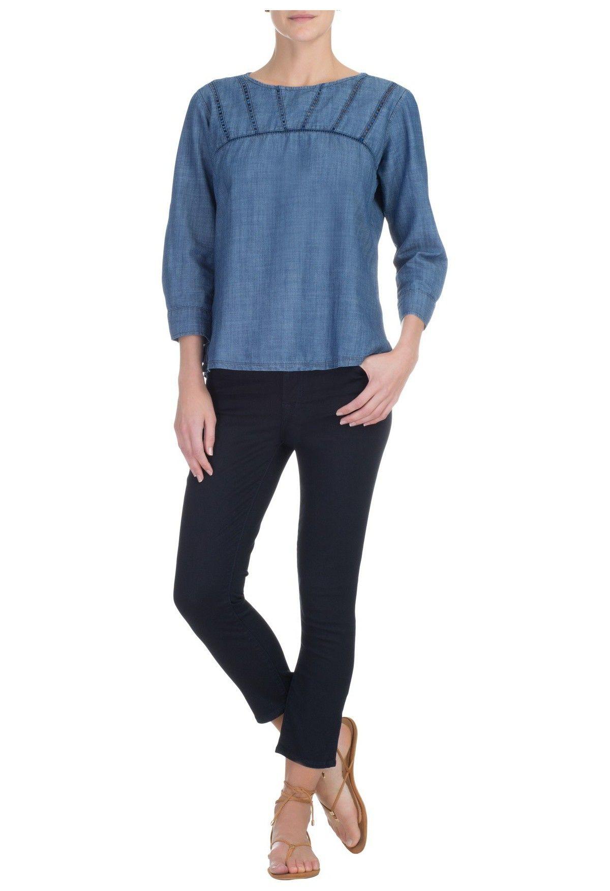 MARIA FILÓ - Bata jeans entremeios - azul - OQVestir