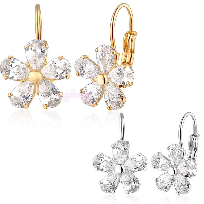 hot bridal jewelry white clear natural zircon flower earring drop gift E113 E129 #DropDangle
