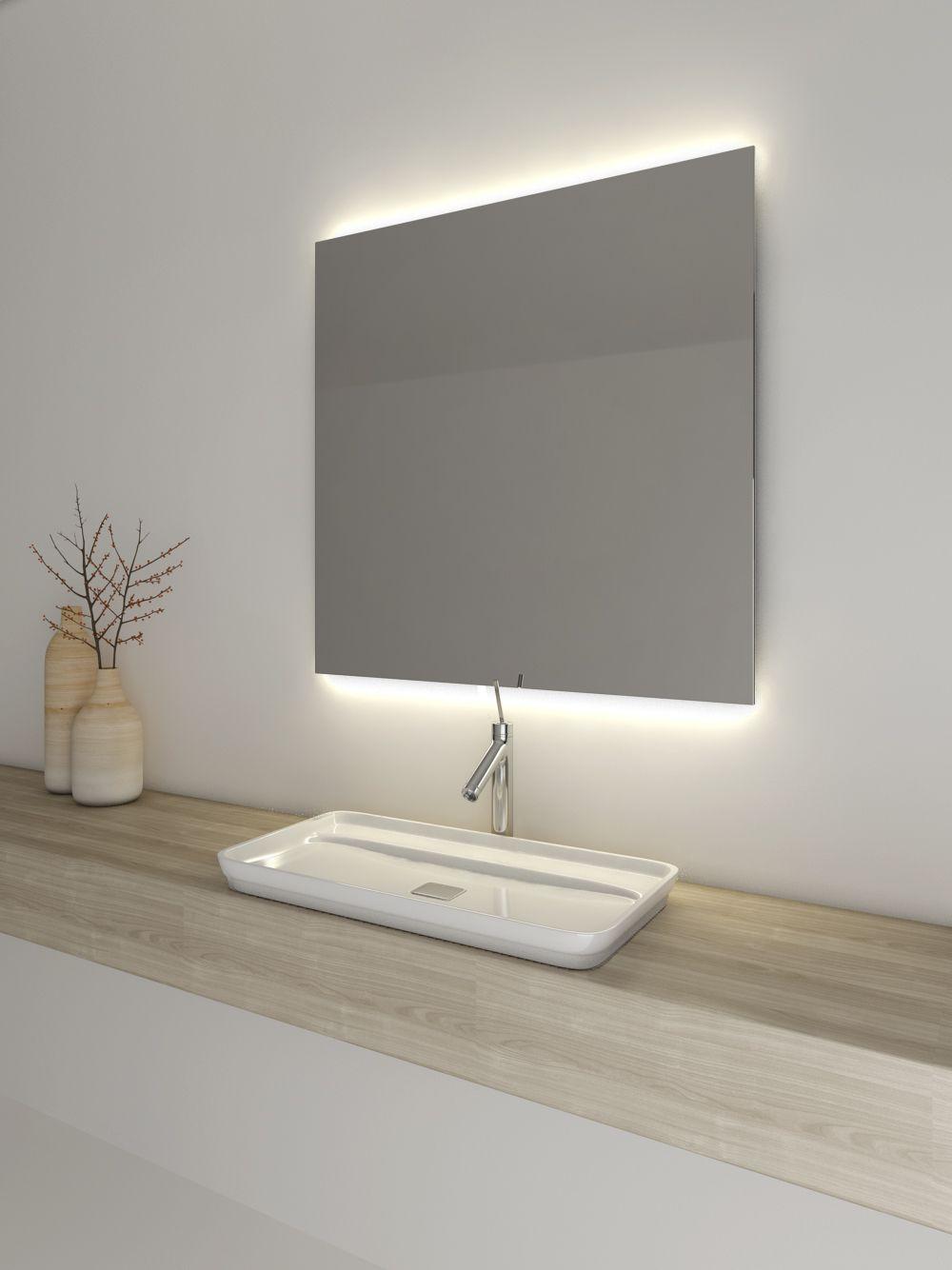 Espejo de Baño cuadrado con luz led sin marco | Espejos ...