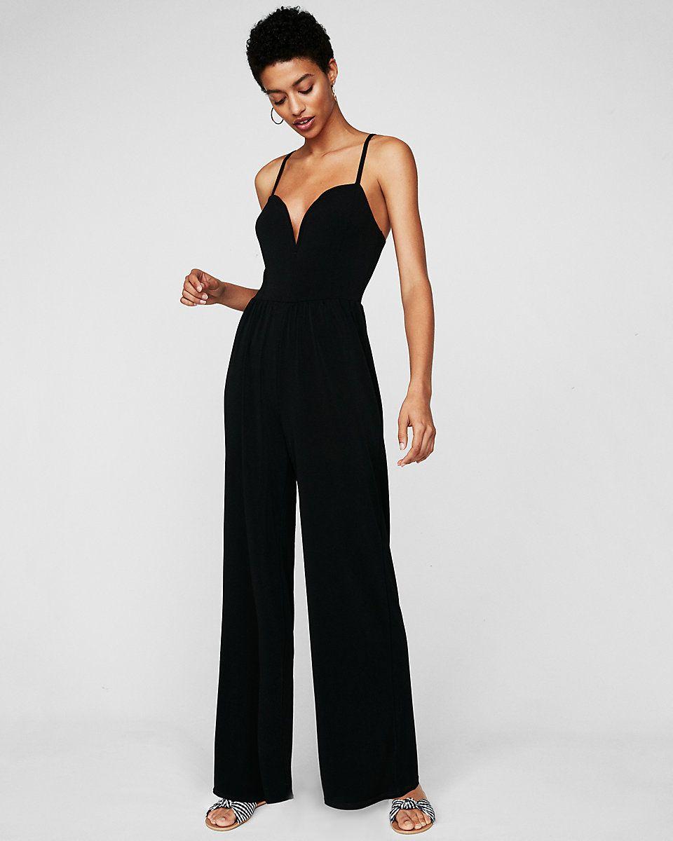 52d78fffe Wide Leg V-wire Jumpsuit | Express #ad | outfits | Black jumpsuit ...