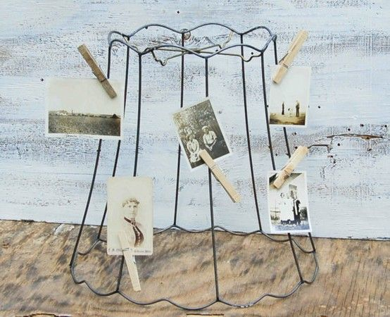 Photo collage using old lampshade frame lampshades pinterest a vintage wire frame lampshade makes a great photo display greentooth Images