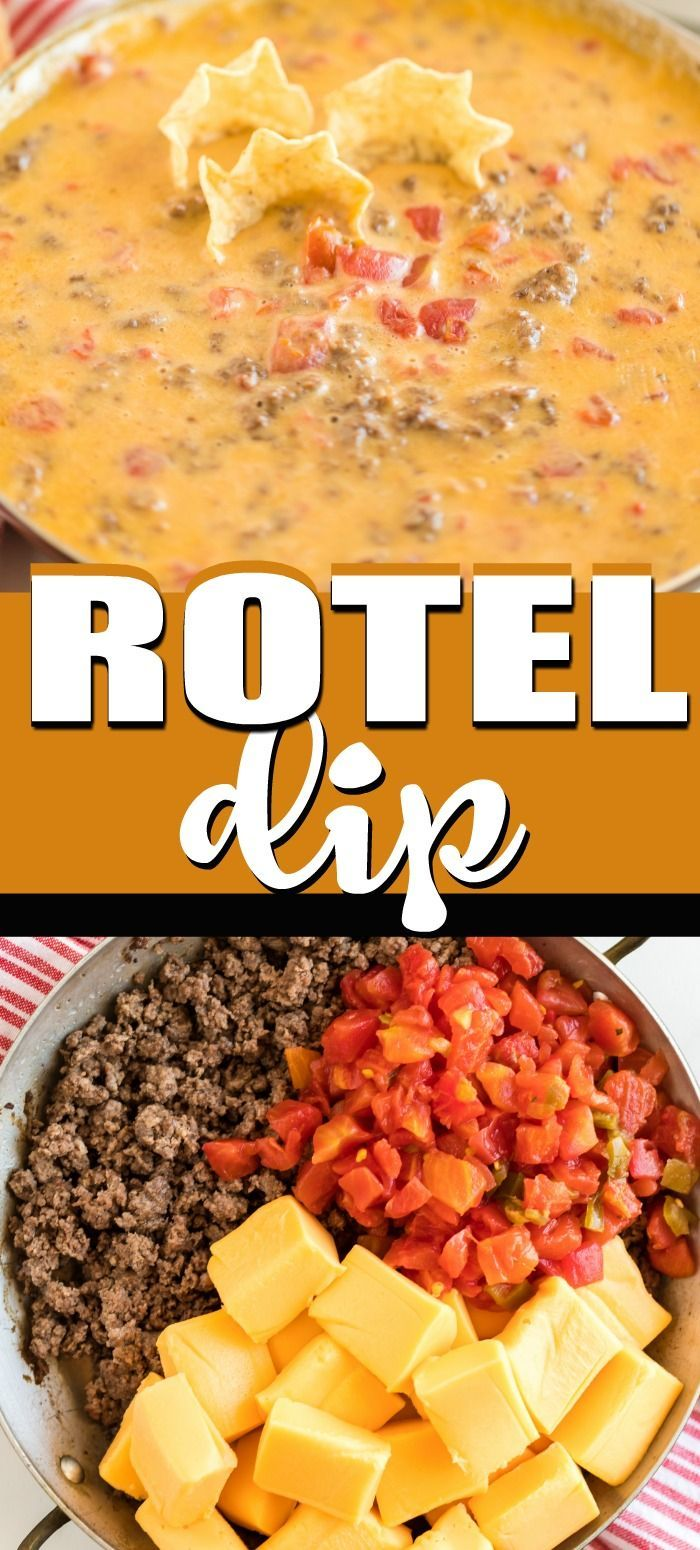 Rotel Dip is an easy appetizer recipe with ground beef, Rotel, and Velveeta chee…