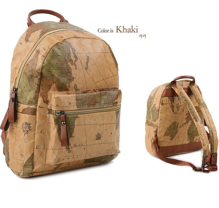 World map design print canvas large capacity graffiti backpack 4 world map design print canvas large capacity graffiti backpack 4 designs 2 sizes gumiabroncs Choice Image