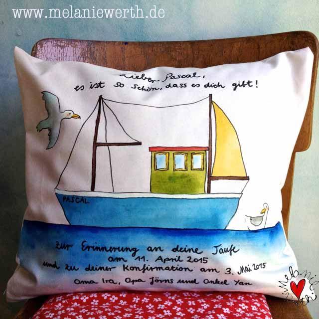 pascals schiff kissenbezug aus bio baumwolle zur taufe und konfirmation individuelles geschenk. Black Bedroom Furniture Sets. Home Design Ideas