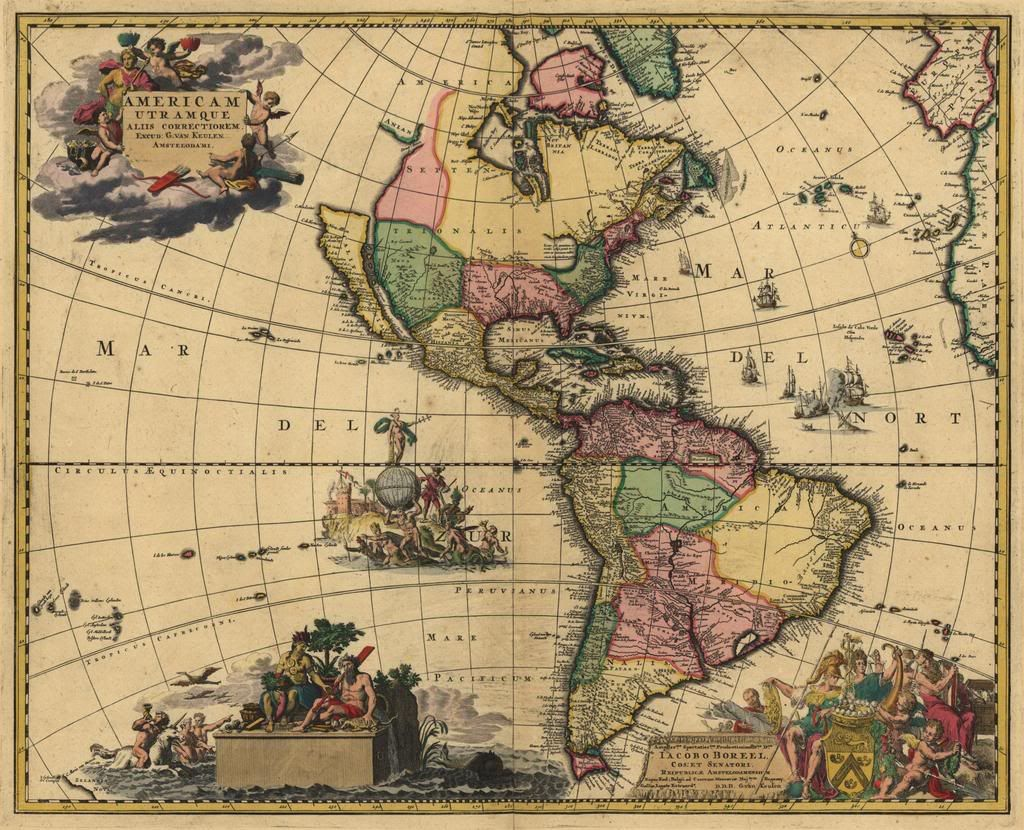 S Map Of North South AMERICA Canada Mexico Antique Decor - Old maps of america