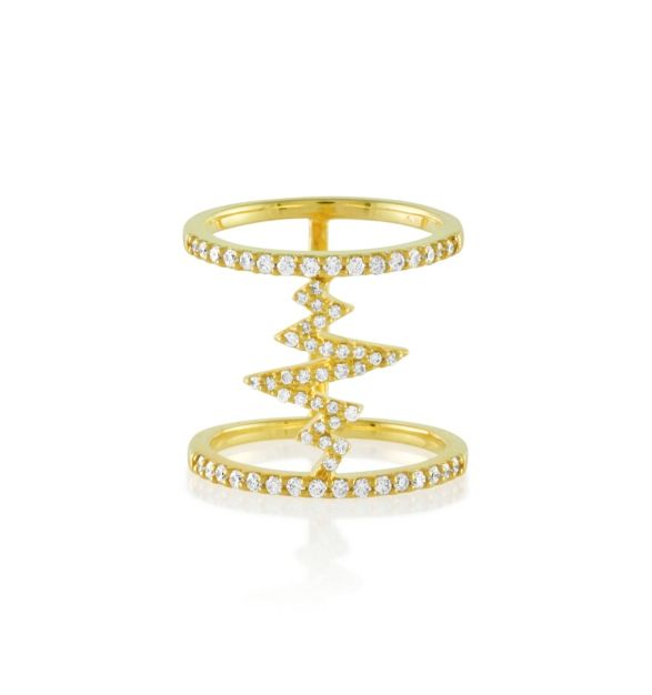 TRAPPED SHOCKWAVE RING | Features two #18K #gold bands connected by a pave #whitediamond shockwave. Wear it day or night for a dazzling look. #khaikhai #finejewelry #costumejewelry #party #fun #ring #doubleband