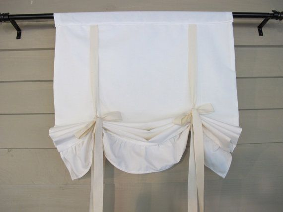 Ruffled Off White Canvas 36 Inch Long Tie Up Shade Custom Made To