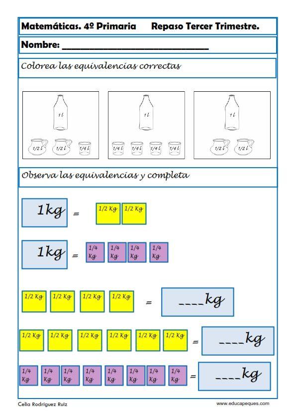 Fichas de Matemáticas Cuarto Primaria | Matemáticas quinto ...