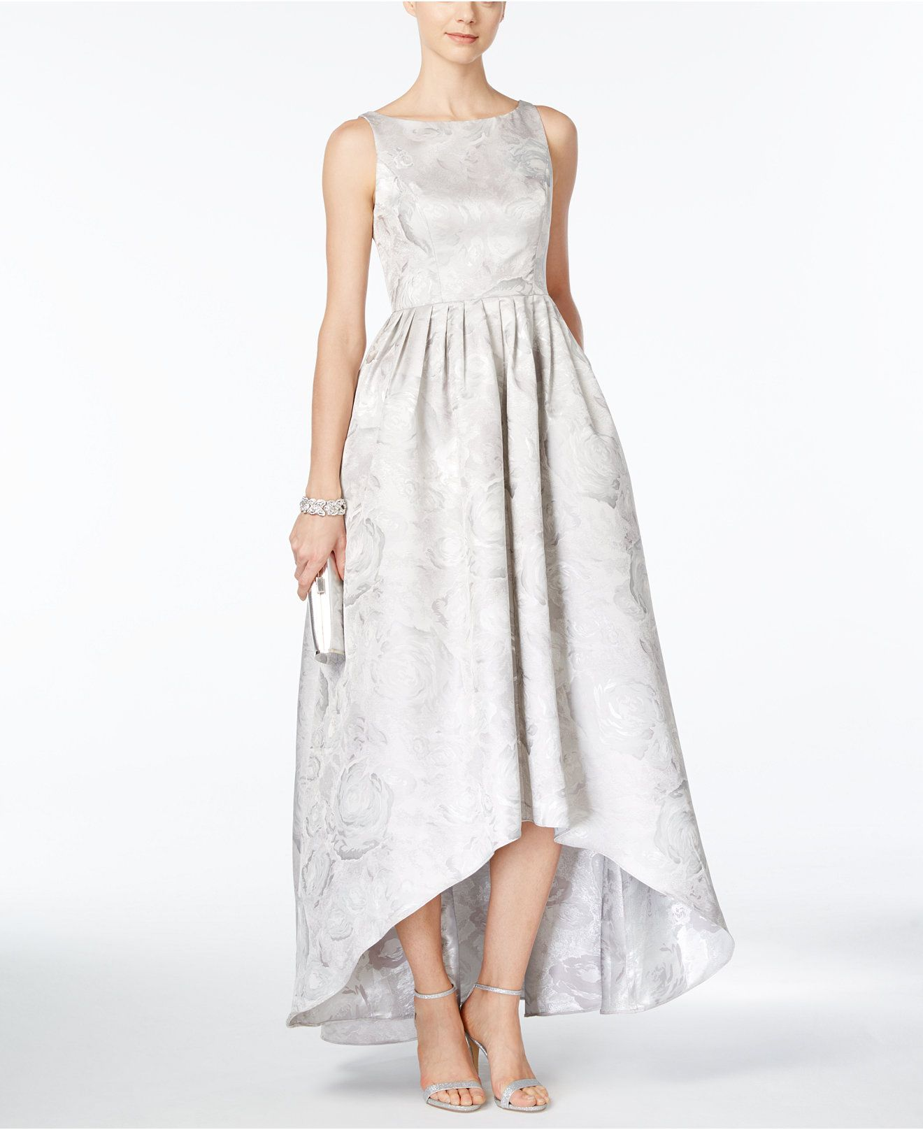 Macy's party dresses weddings  Adrianna Papell FloralJacquard HighLow Gown  Dresses  Women
