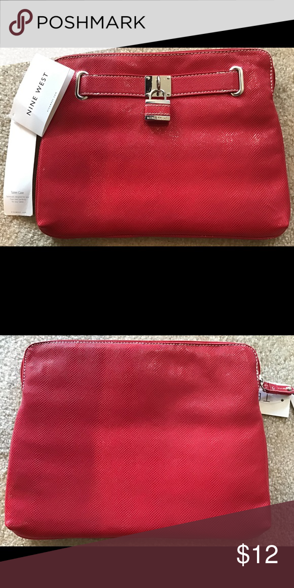 Nwt Nine West Bag Clutch In Shiny Red In 2020 Red Clutch Bag Monogrammed Leather Red Clutch