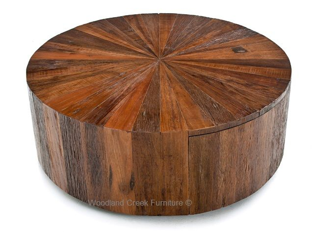 Round Reclaimed Wood Coffee Table With Drawer