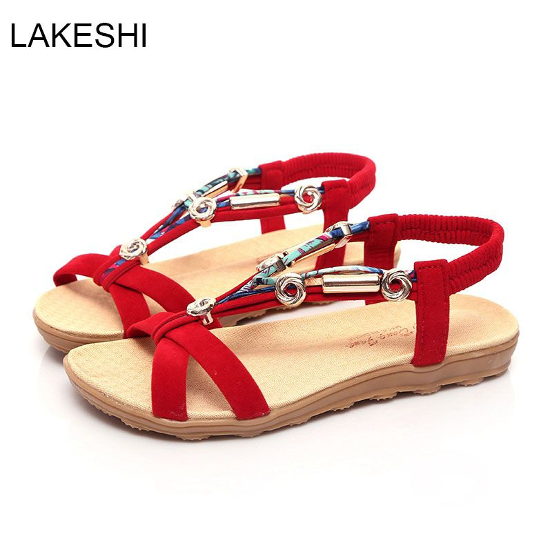 87234dbaaa1 LAKESHI Women Sandals Flats Ankle-Strap Women Summer Sandals Beach Shoes  Flip Flop Plus Size 40 41. Yesterday s price  US  16.69 (13.81 EUR).