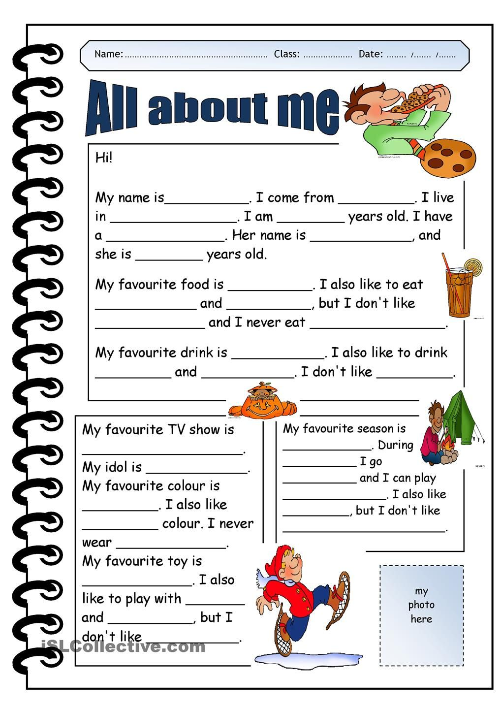 all about me printable worksheets Google Search