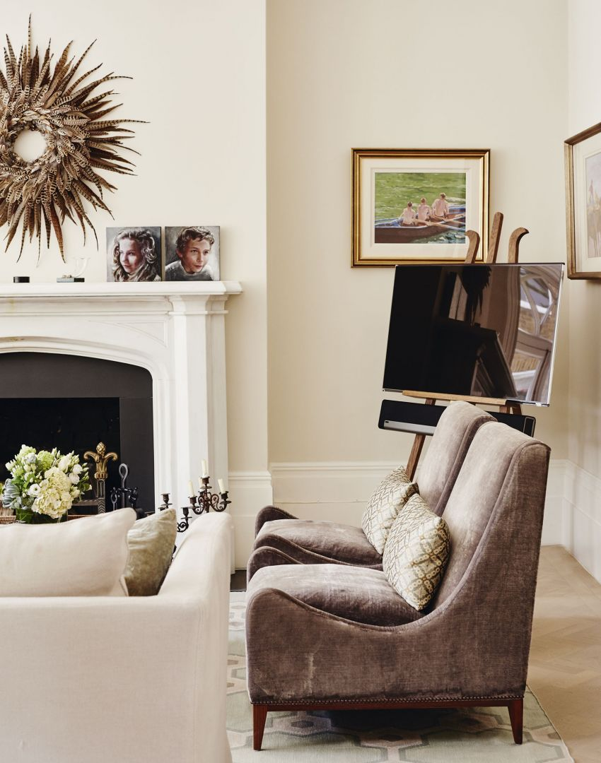 Traditional Living Room With Artist S Easel Tv Stand The Room Edit Parisian Living Room Traditional Living Room New Living Room