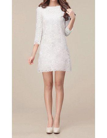 Elegant Long Sleeves Lace Sheath Column Short Beach Wedding Dress