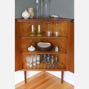 Teak Corner Cabinet Mid Century Inspired Furniture Cabinet
