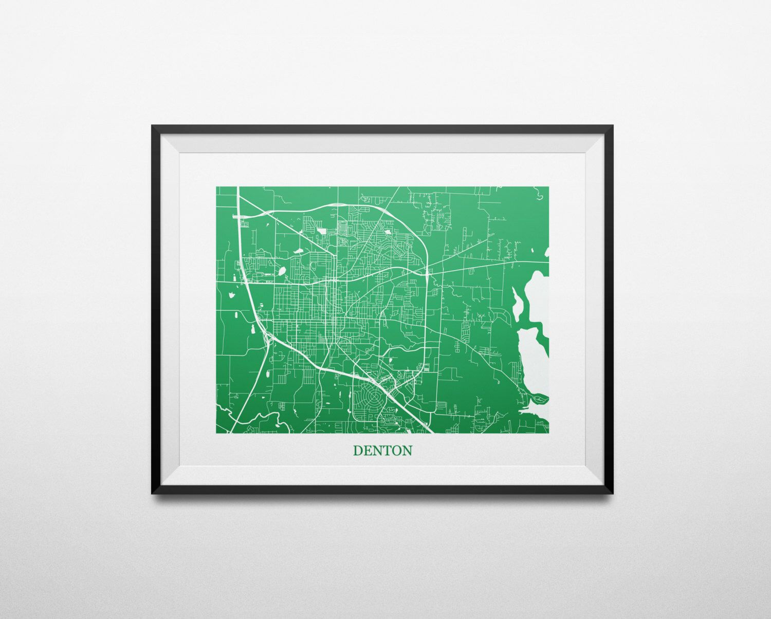 Denton Texas University Of North Abstract Street Map Print By Louisianaprints On Etsy