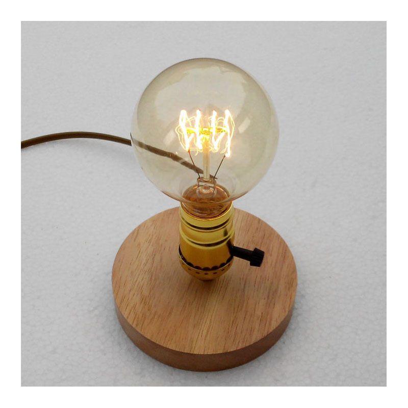 E26 E27 Industrial Vintage Edison Wooden Base Socket Desk Light Table Reading Lamp Not Contain Light Bulb In Table L Lamp Nature Inspired Lighting Lamp Bases