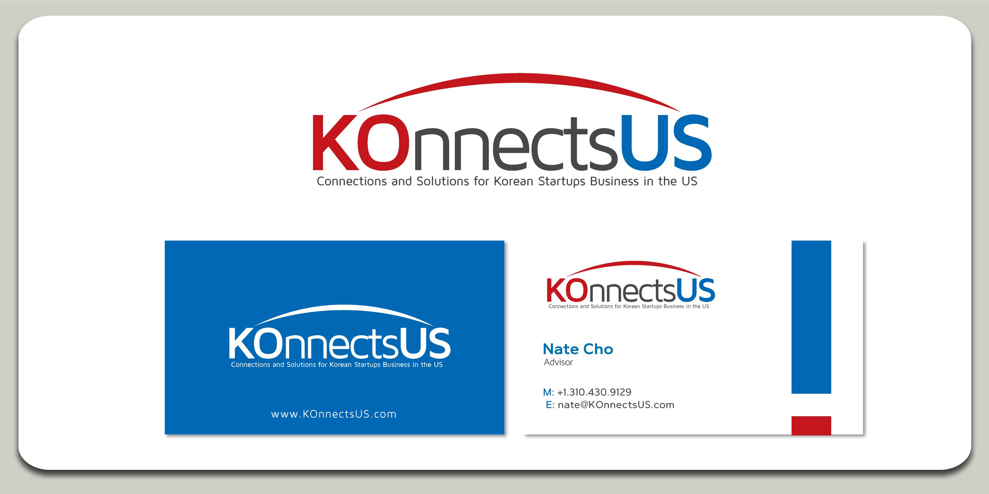 logo and business cards for konnectsus from korea to us new york