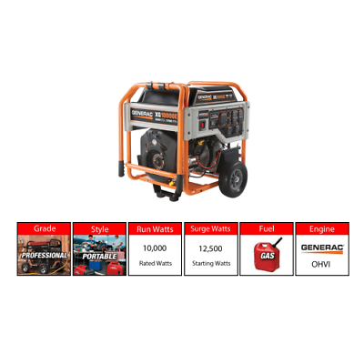 Generac Xg10000e Gasoline 10 Kw 120 240v Electric Start Portable Generator Portable Generator Portable 10 Things