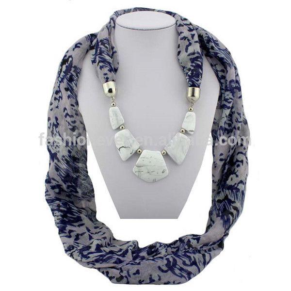 signora gioielli ciondolo sciarpa lunga moda leopardo stampa donne sciarpa collana resina pendenti pietre sciarpe