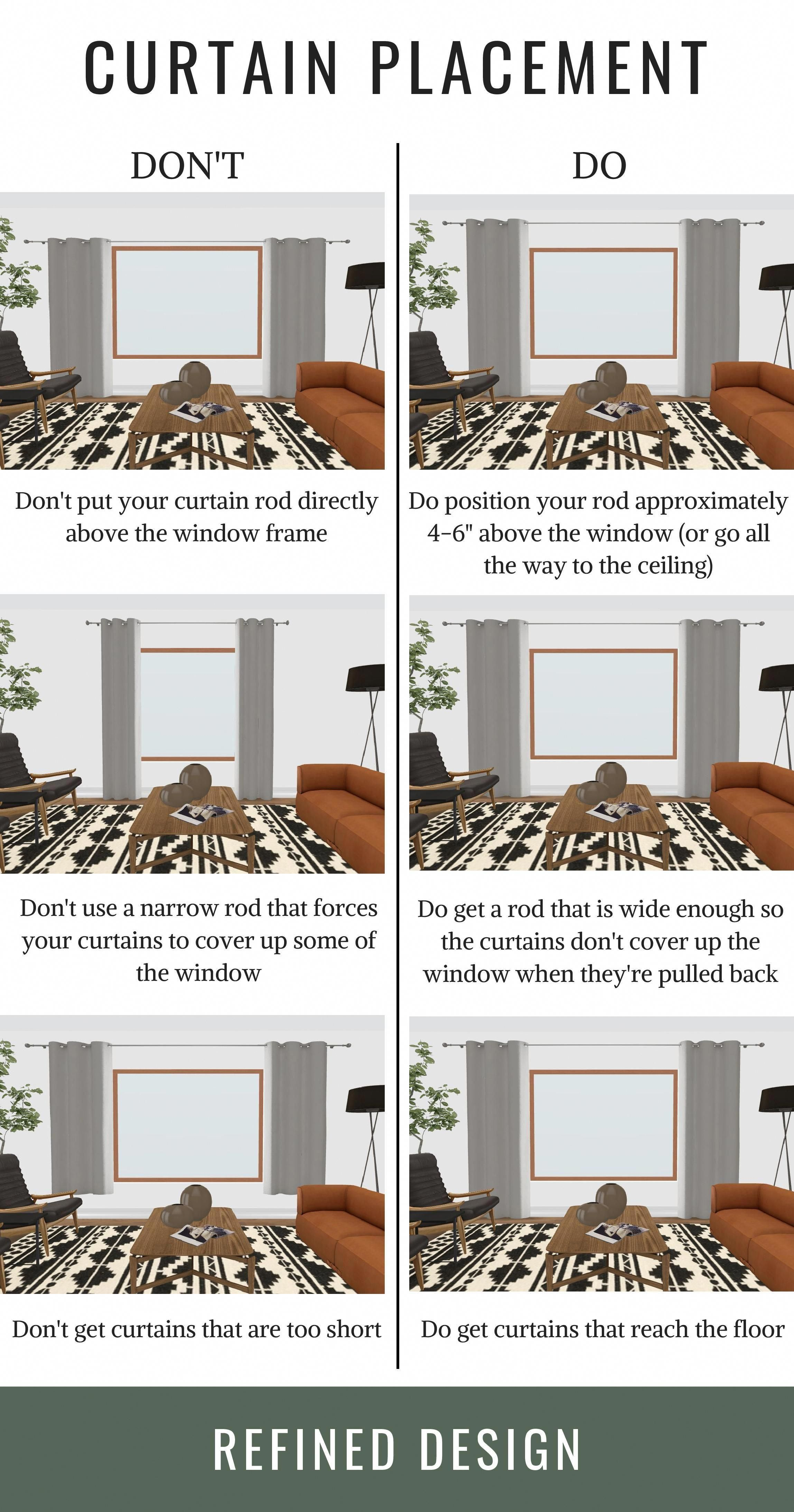 The Do S And Don Ts Of Curtain Placement How To Hang Your