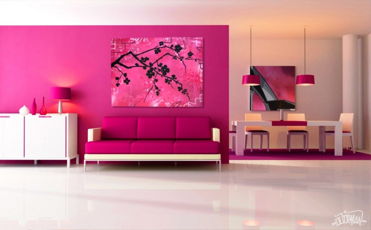 Display Beautiful Home Interior Design With Pink Living Room Theme: Pink Living  Room Ideas, Shades