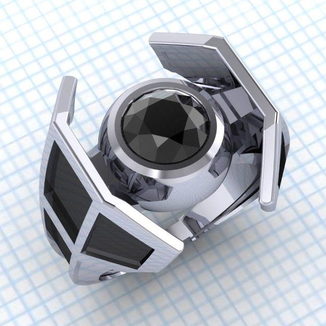 STAR WARS X Wing And TIE Fighter Engagement Rings