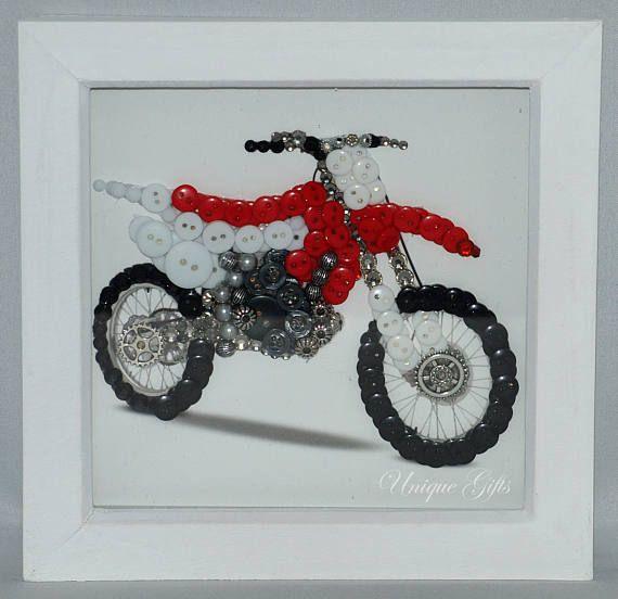 Motorbike Button Art Frame Motorcycle Button Art Red Motorbike