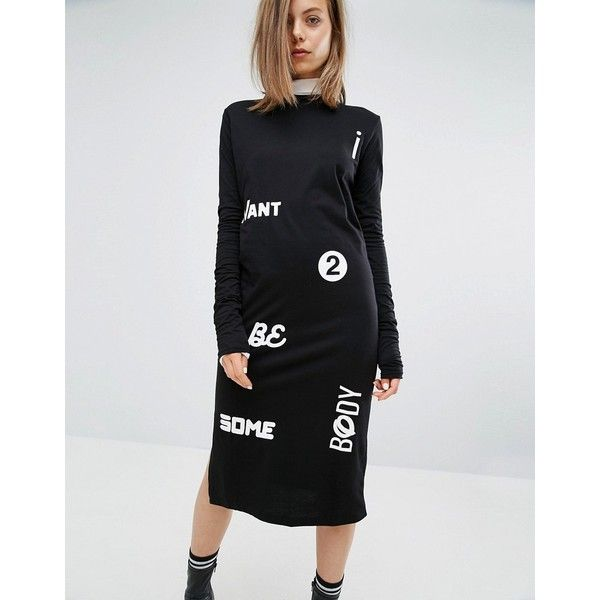 Cheap Monday Slogan High Neck Dress (€56) ❤ liked on Polyvore featuring dresses, black, print dresses, cotton dresses, cheap monday, cotton jersey and jersey print dress