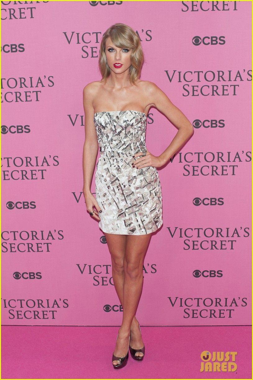 Taylor Swift Flaunts Toned Legs in Mini-Dress on Victoria's Secret Fashion Show Pink Carpet 2014