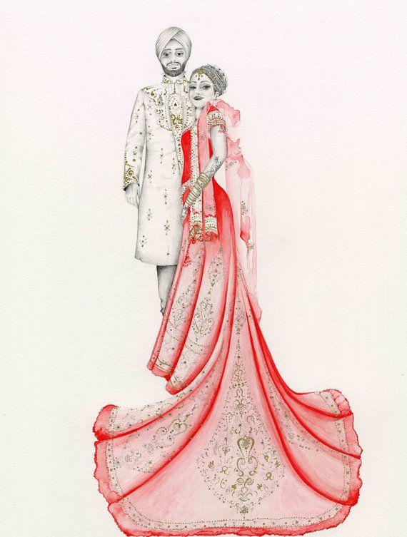 Portrait Hindu Wedding Portrait Custom Indian Portrait Drawing Hand