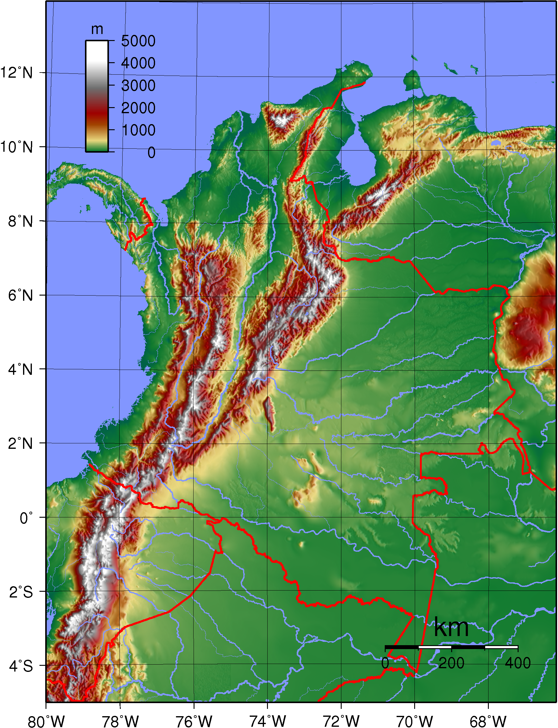 Map of the Cordilleras in Colombia. | Maps of South America ...