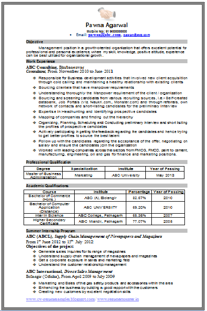 Mba Marketing Resume Sample Career, Page 7