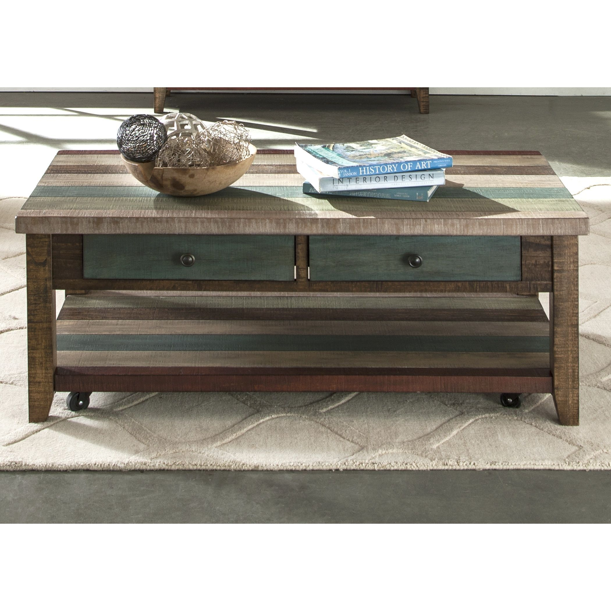 The Curated Nomad Vella Rustic Multicolor Cocktail Table Rustic Loft Boho Loft Coffee Table