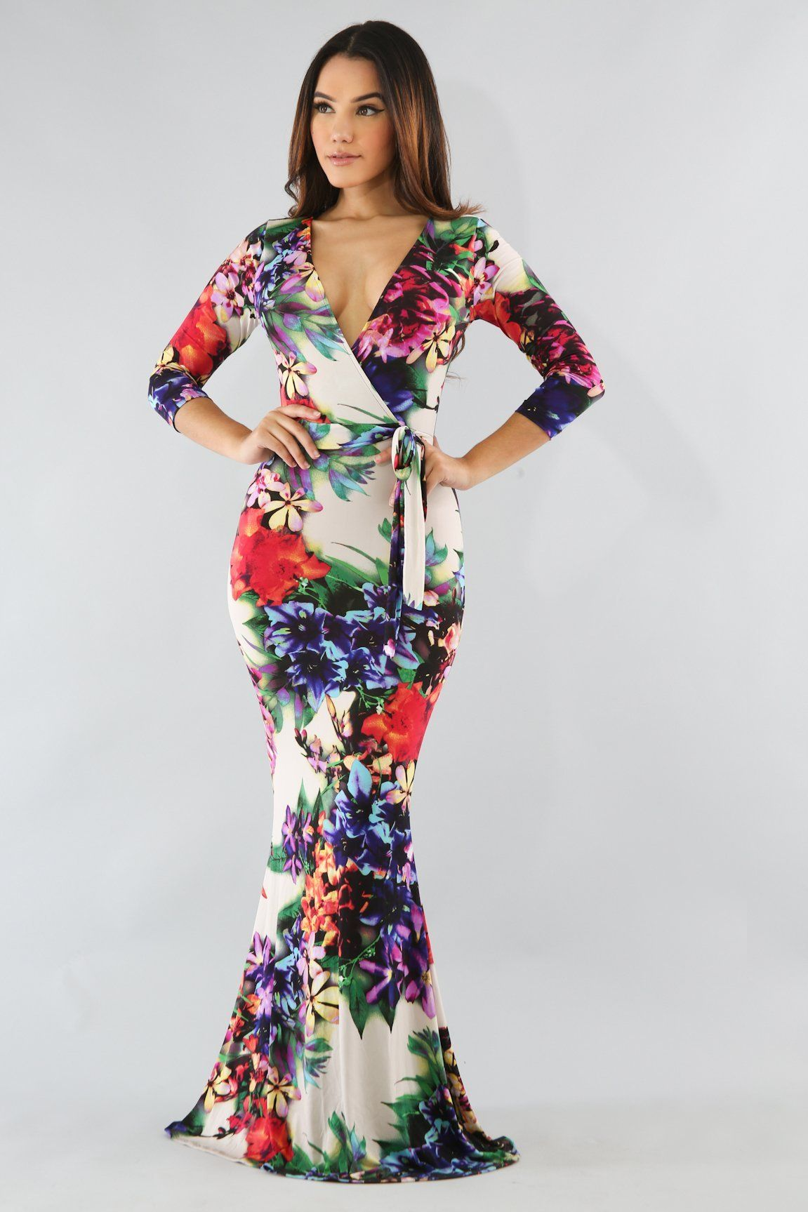 c8e83691cee2 WRAP STYLE FLORAL MERMAID MAXI DRESS - MULTI | Products | Dresses ...