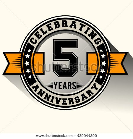 Celebrating 5th Anniversary Logo 5 Years Anniversary Sign With