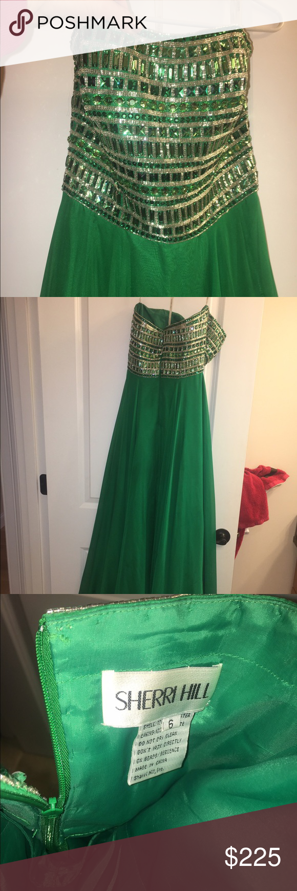 Sherri hill size beautiful green prom dress dress prom emeralds